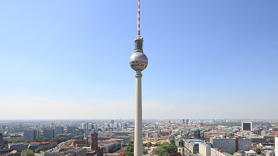 Berlin television tower photographed from the City West. Brain City Berlin